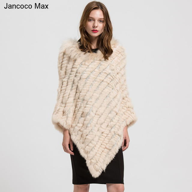 2018 Real Fur Poncho Women's Genuine Rabbit Knitted Shawl Raccoon Fur Collar Large Cape Black/Grey/Navy/Beige/Wine Red S1729