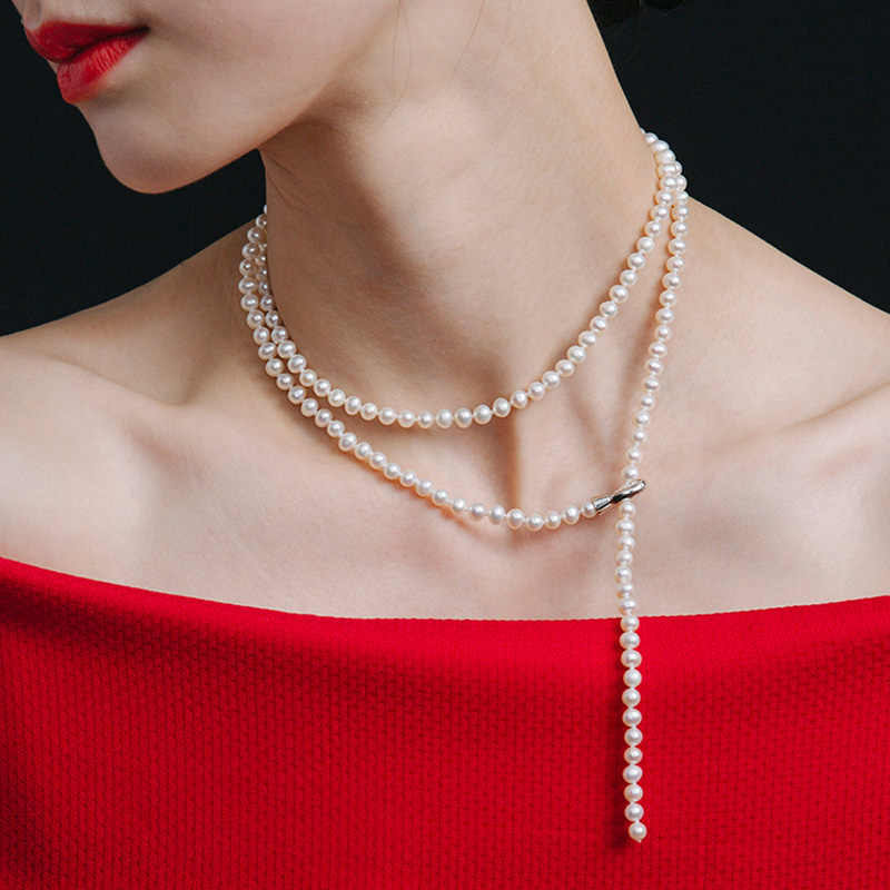 Long Natural Freshwater Pearl Neckalce For Women,Fashion Real Small White Pearl Necklace 85cm Nice Gift Fine Jewelry