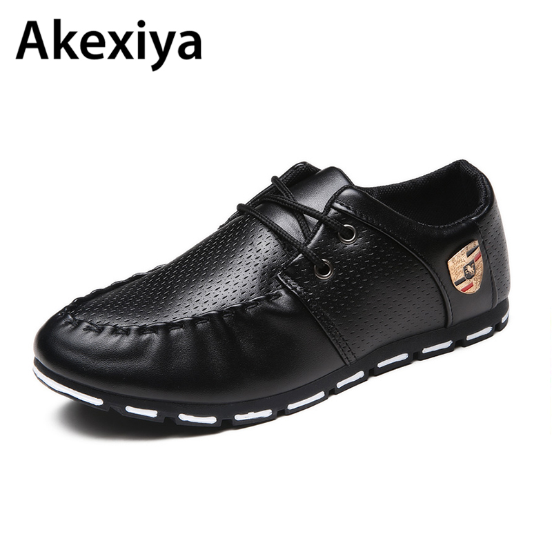 2018 Spring Autumn Black White PU Leather Shoes Men's Business Shoe Man Breathable Casual Shoes Moccasins Boat Flat Shoes AA35 top fashion shoes men mens canvas shoe chaussure homme leather business breathable spring autumn solid medium b m flat lace up
