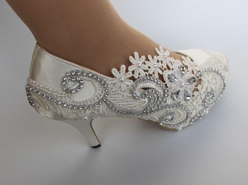 Satin blanc ivoire dentelle ruban cheville bout ouvert mariage haut talon pompe chaussures femmes cadeau