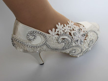 white satin ivory lace ribbon ankle open toe Wedding high heel pump shoes women gift