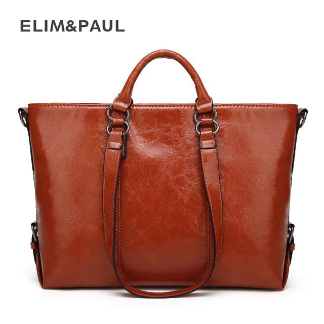 ELIM&PAUL Women Top-Handle Bags Female Large Tote Handbags Business Shoulder Bags Women PU Leather Crossbody Bag bolsos mujer