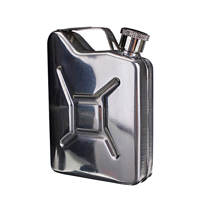 Portable Flagon Stainless Steel Jerry Can Hip Flask 5 oz Steel Fuel Petrol Can For Whisky Liquor Bottle Gasoline Can