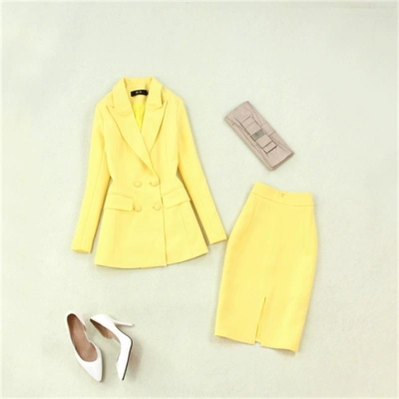 Fashion suit female spring summer New high quality Women s yellow long suit bag hip high