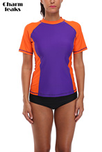 Charmleaks Rash guard Wanita Swim Shirts Wanita Rash Guard Swimwear Surf Rushguard Top Lengan Pendek Swimsuit UPF 50 UV