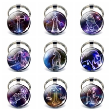 Wholesale 12 Zodiac Signs Keychain Jewelry Constellation Glass Cabochon 2019 Best Birthday Gift for Friends