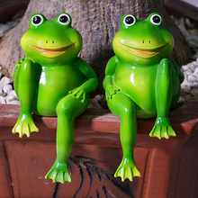 1Pair Cute Resin Sitting Frogs Statue Garden Store Decorative Sculpture for Outdoor Pond - Medium