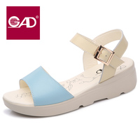 2017 summer new wild slope sandals ladies summer flat with leather shoes in the middle of sandals female students