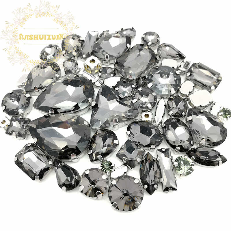69747bab2d 52pcs 23sizes 10shapes MIX Gray Size Crystal Glass Sew-on Rhinestones  Silver Bottom DIY Women's Dresses and Shoes