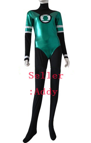 Free Shipping New Green Lantern Shiny  Metallic Superhero Costume