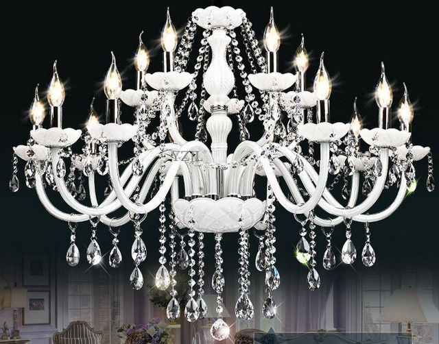 Simple white crystal light chandelier living room dining room bedroom crystal light Hotel luxury chandelier crystal light