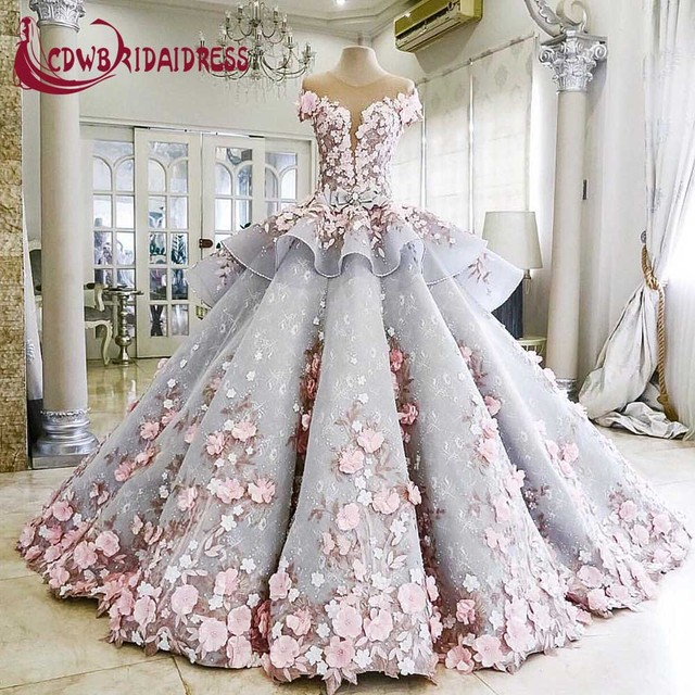 c0f4cc59f6e New Superb Ball Gown Blue Wedding Dresses 2017 Princess Handmade Pink  Flowers Short Sleeve Gorgeous Bridal Gown Original Picture