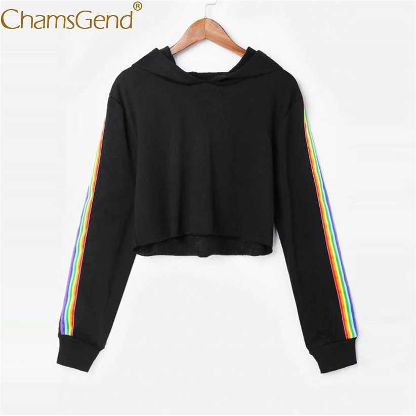 Free Shipping Rainbow Striped Sweatshirts Women Pullover Hoodie Sweatshirt Crop Tops For Women Autumn Winter Outfit 80808