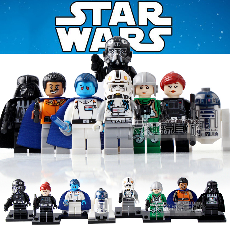 8pcs STAR WARS Darth Vader Death Trooper Lando Admiral Thrawn R2-D2 Assemble minifig Building Blocks Kids Toys ksz star wars minifig darth vader white storm trooper general grievous figure toys building blocks