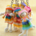 Multi-Color 3pcs Hand Made Wool Doll Cute Hat Dolls keychain Key Rings Woman Bag Key Ring Accessories Pendant For Women Gift