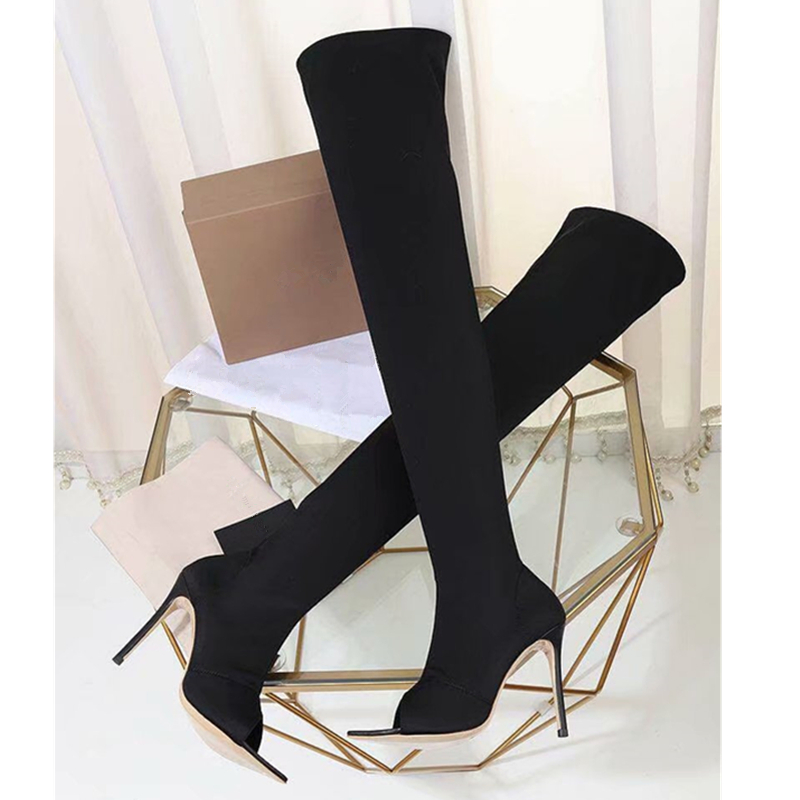 4ab36cd19a67 Fashion Runway Stretch Fabric Sock Boots Pointy Toe Over-the-Knee Heel  Thigh High