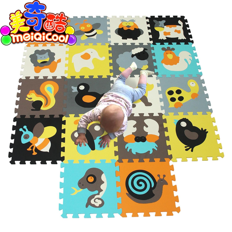 Animais dos desenhos animados padrão tapete eva espuma quebra-cabeça esteiras crianças piso puzzles jogar esteira para crianças bebê jogar ginásio rastejando esteiras da criança