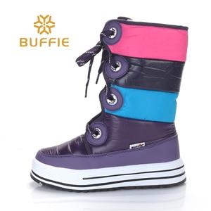 Image 3 - Fioletowe paski wysokie buty moda pani śnieg buty antypoślizgowe jakości buty zimowe buty dziewczęce uwalnia statek pluszowa futrzana podszewka gorącym stylu