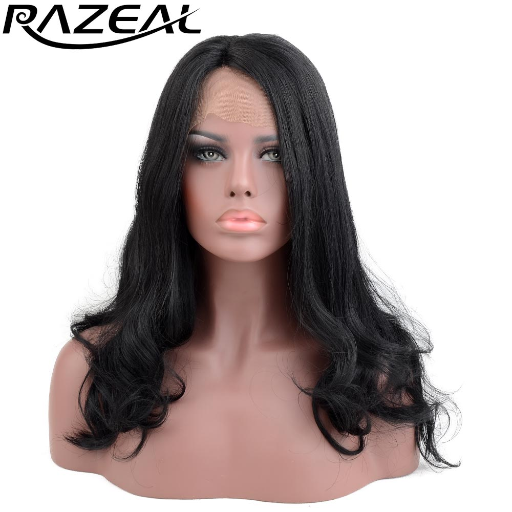 Razeal 20inch 185G Side Parting Long Wavy Lace Front Wigs Synthetic Hair Heat Resistant Fiber Cosplay Wigs For Women
