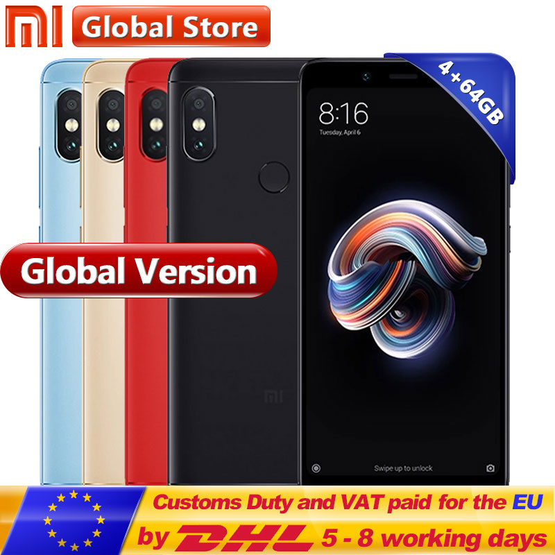 Оригинальный мобильный телефон Глобальный Версия Xiaomi Redmi Note 5 4 ГБ 64 ГБ Snapdragon S636 Octa Core 5,99 12.0MP + 5.0MP 4000 мАч