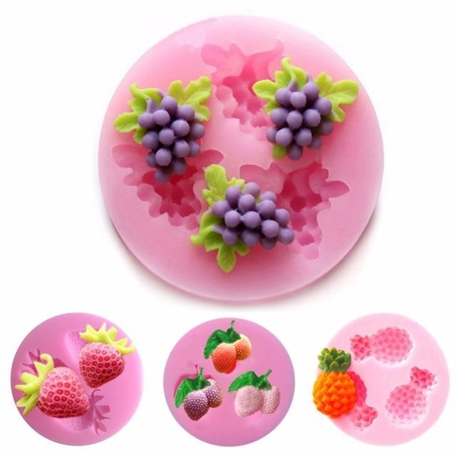 1 pcs Cartoon Silicone Mold Cake Molds Fruit Fondant Moulds Grape Cherry Pineapple Strawberry Shape Mold Soap Chocolate Mould S2