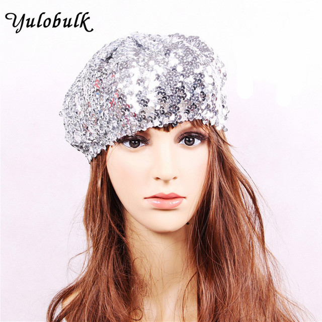 87cd499f32eeb Women Fashion Mermaid Sequin Beret Hats Ladies Magical Color Changing Stage  Performance Cap Children Glitter Hat