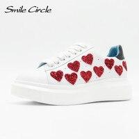 2018 Spring/Autumn Women Platform Shoes Sneakers Fashion heart Casual Shoes Women Lace Up Flat Platform Shoes Thick bottom