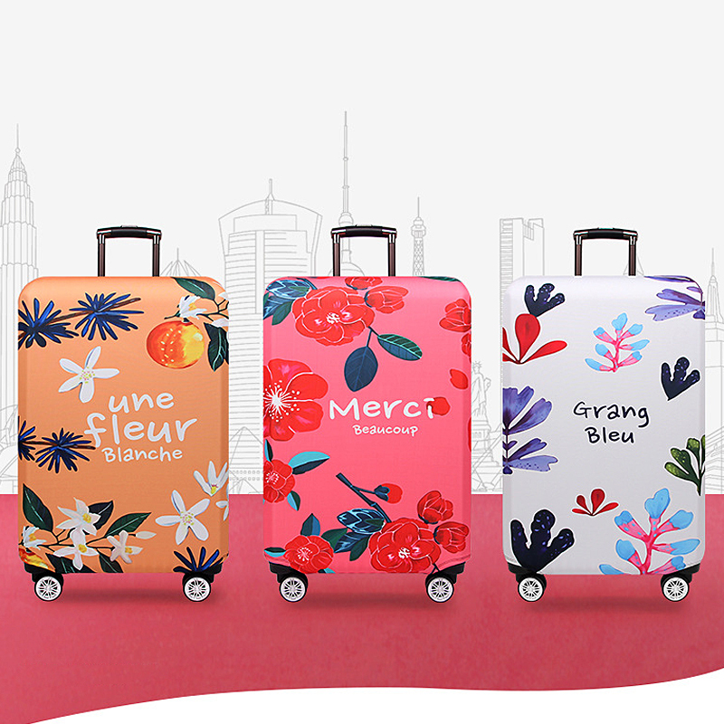 Suitcase Protector flower pattern Elastic Washable Dustproof Travel Luggage protectors Suitcase Cover Protector Plant pattern,A-S Trolley Case Protective Cover Spandex Polyester Durable