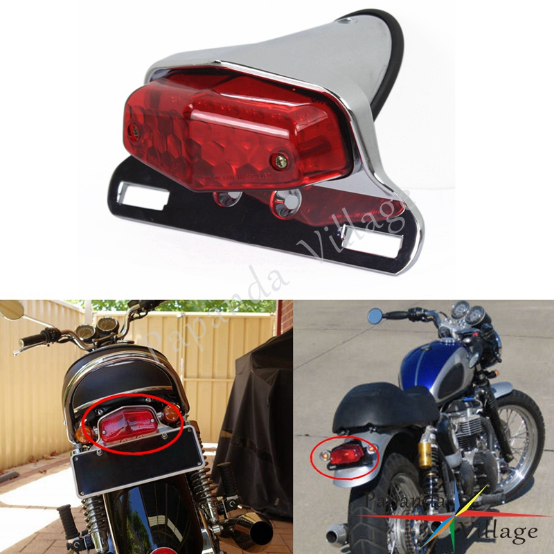 Papanda Motorcycle Universal LED Chrome Red 12V Rear Tail Brake Light Custom for Harley Bobber Honda Yamaha Cafe Racer