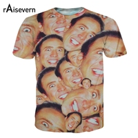 2014 New Fashion Nicolas Cage Crazy Funny Print Stare At You 3d T Shirt For Men