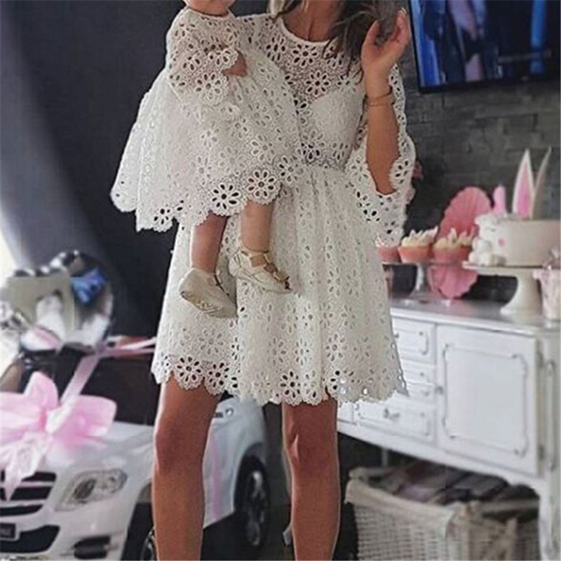 Fashion Family Matching Clothes Mother Daughter Dresses Women Floral Lace Dress Baby Girl Mini Dress Mom Baby Girl Party Clothes 2