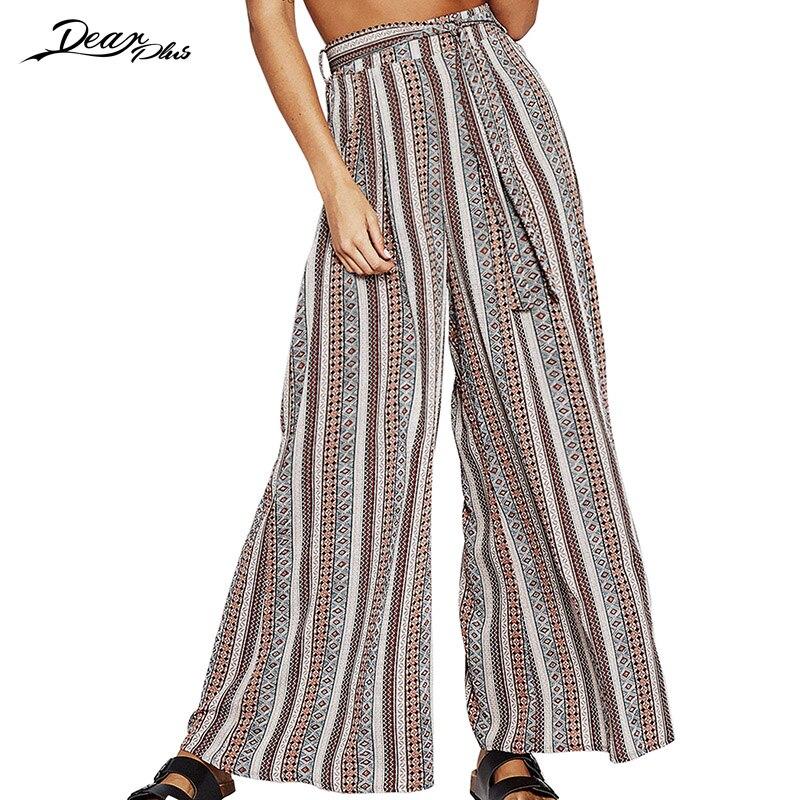 Women Fashion Print Summer Casual Loose   Pants   Trouser Sweet High Waist Belted Straight   Pants   Elegant   Wide     Leg     Pants