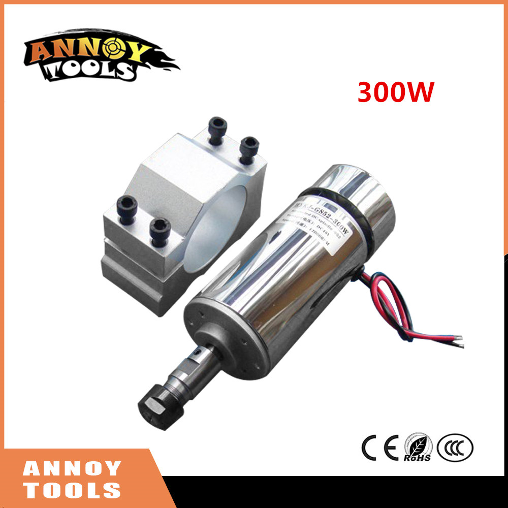 ANNOYTOOLS HIGH QUALITY 1pcs ER11 chuck+300W 12-48V CNC Spindle DC Motor+Mount Bracket 24V 36V for PCB Engraving shop promotions free 1pcs 3 175 1 8 chuck 10pcs dc 12 57 cnc 200w spindle motor mount bracket 12 110vdc for engraving carving