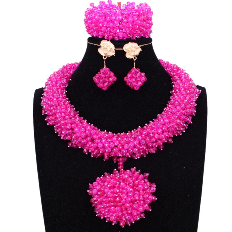 Nigerian Bridal Jewelry Set Fuchsia / Hot Pink Bride Necklace Set African beads Jewelry Crystal Handmade Big Ball Jewellery Set