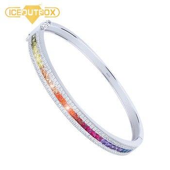 925 Sterling Silver Bangle Rainbow Crystal Elegant Design For Women Fashion Jewelry With 925 Logo Colorful Rhinestone Bracelet