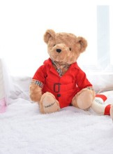 middle size plush red coat Teddy bear toy cute Dust coat bear toy doll gift about 30cm