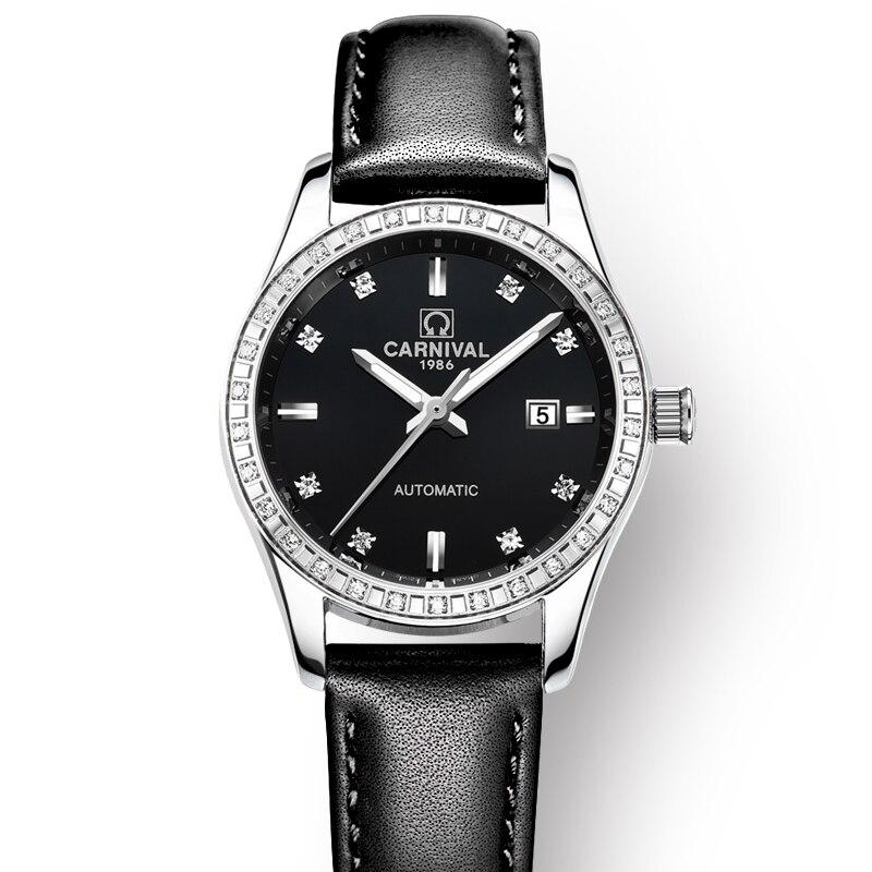 Schweiz Karneval Frauen Uhren Luxus Marke damen Automatische Mechanische Uhr Frauen Wasserdichte relogio feminino 8685L 17-in Damenuhren aus Uhren bei  Gruppe 3