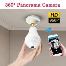 360 градусов Панорама видео камера wi fi IP лампочки наблюдения CamCCTV движения сенсор ночное видение 960 P для iPhone Android