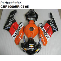 Hot sale fairings for Honda CBR1000RR 04 05 orange black motorcycle fairings set CBR 1000RR 2004 2005 IT20