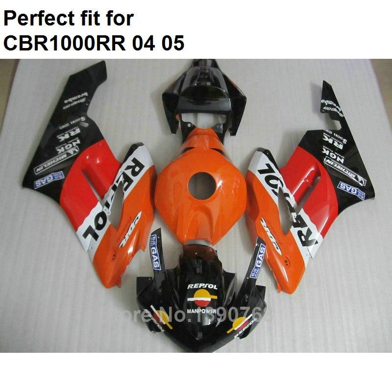 Offre spéciale carénages pour Honda CBR1000RR 04 05 orange noir carénages moto ensemble CBR 1000RR 2004 2005 IT20