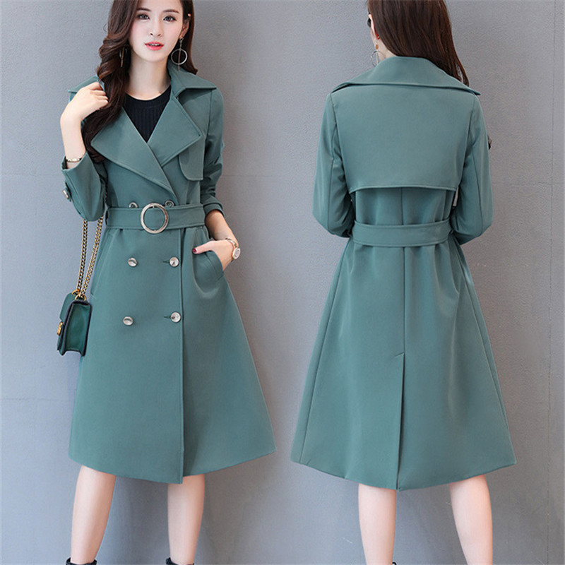 S 5XL womens plus size trench coat turn down collar double breasted slim long trench-in Trench from Women's Clothing    1