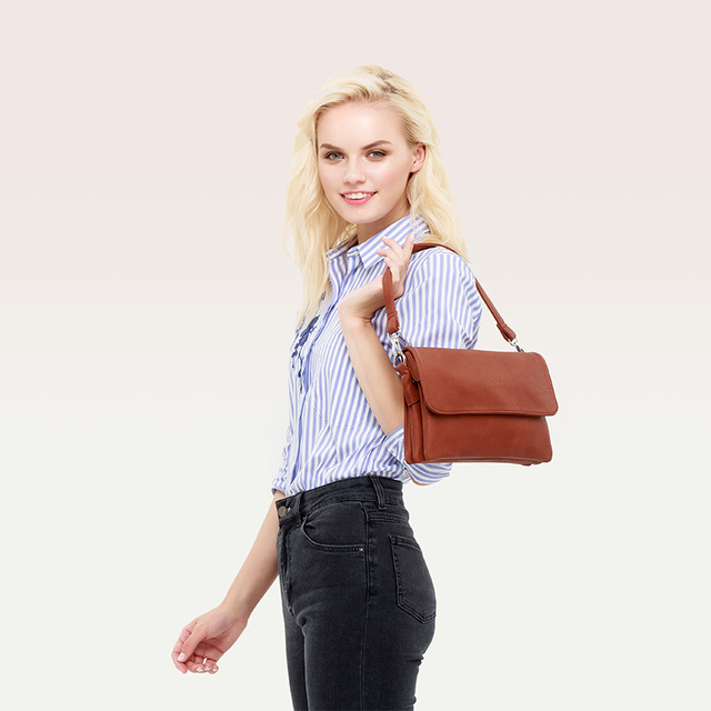 AMELIE GALANTI Women Shoulder Bags PU Leather Ladies Luxury Handbag Fashion Long Straps Small Browm Female Crossbody Bag Shoulder Bags