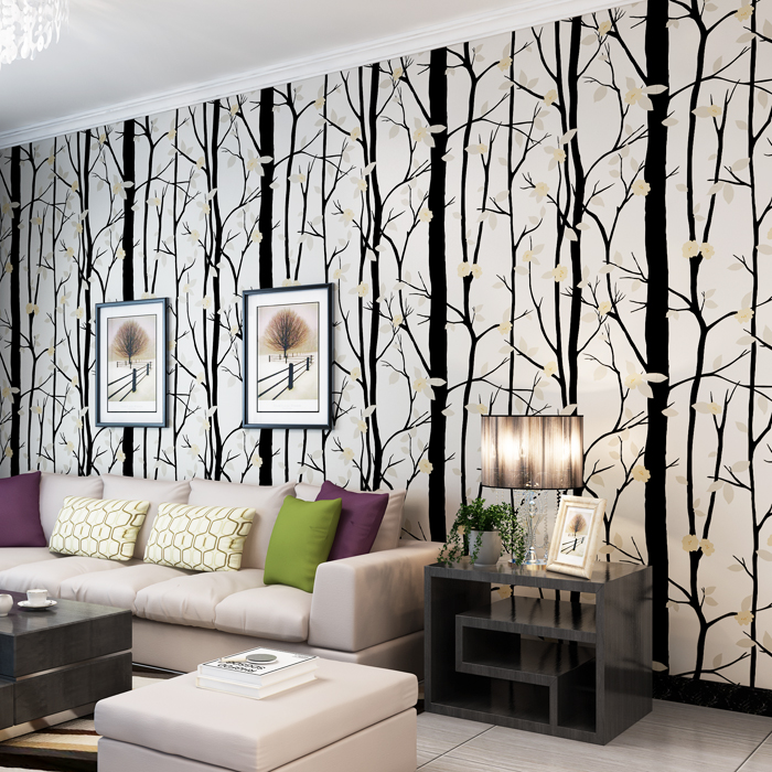 2017 New Black White Tree Flower 3D Wallpaper Ror Living Room Tv Walls 3 d Pink Branch Modern Wall Paper Roll super thick modern minimalist wall paper roll english alphabet vintage silver black study tv background wallpaper for walls 3 d