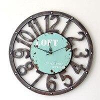 Wzrost jakości zegar ścienny w stylu Retro Amerykański wieś hollow drewniany zegar cyfrowy cisza domu dekoracje ścienne dla pokoju