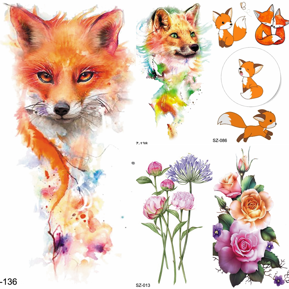 FANRUI Watercolor Tattoos Temporary Yellow Fox Women Chest Art Tattoo Stickers Animals Fake Girl Arm Waterproof Tatoos Xmas Gift