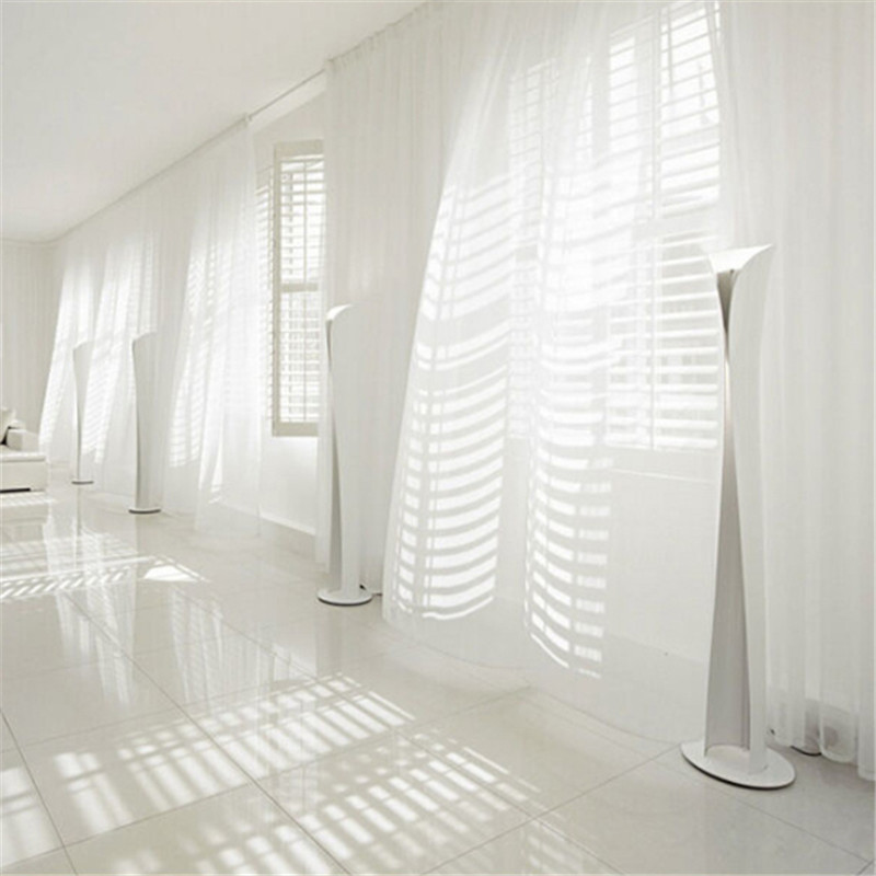 New Free Shipping 1 Piece Sheer White Voile Scarf Curtain Panel Sets  Curtains Extra Wide Long