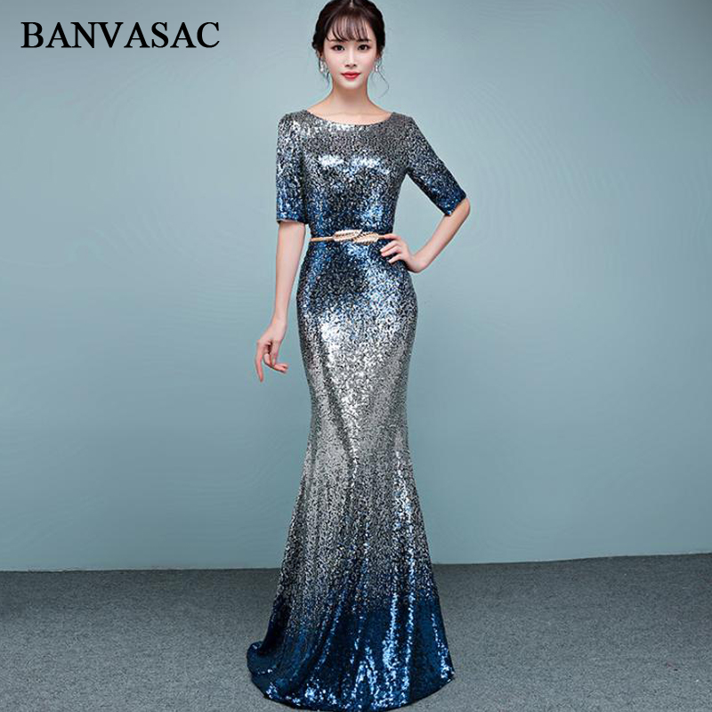 BANVASAC Sequined O Neck Metal Leaf Sash Mermaid Long   Evening     Dresses   2018 Party Half Sleeve Zipper Back Prom Gowns