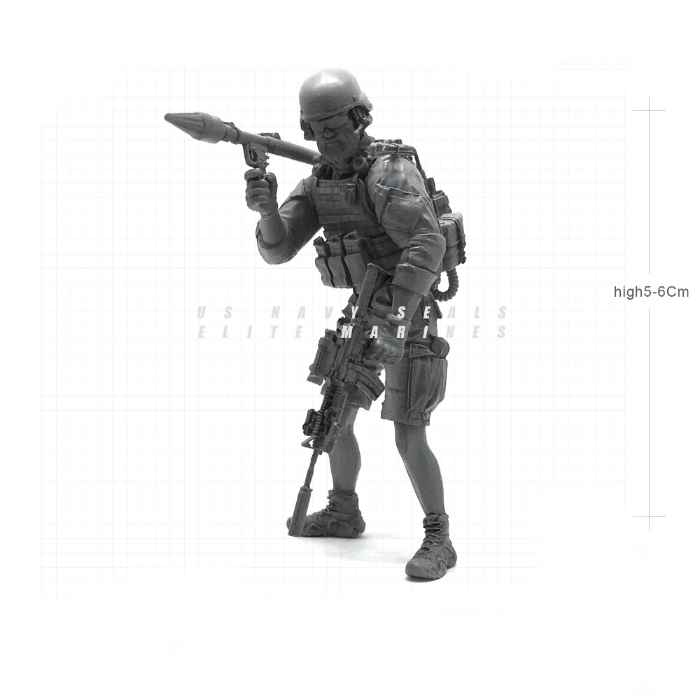 Tobyfancy 1/35 Modern U.S Navy Seals Elite Marines RPG Rocket Launcher Military Soldier Resin Model Figure NAI-27