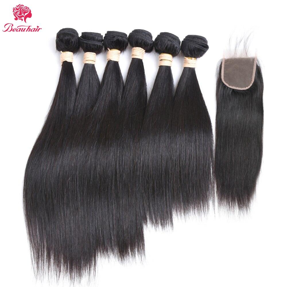 Beau Hair Brazilian Straight Hair Bundles With Free 4*4 Closure Human Hair Weave 6 Bundles With Free Closure Non Remy Hair