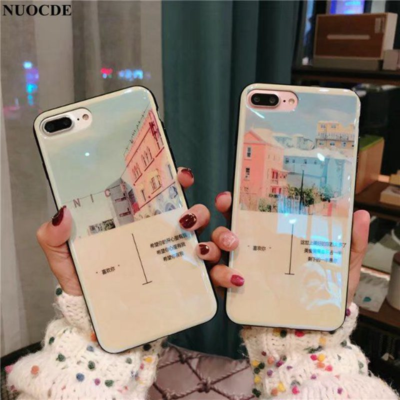 the best attitude 8d228 026d5 US $3.49 |NUOCDE Small Fresh Aesthetic Couple Sisters Cover For iPhone X 8  7 6 6S Plus 7 Plus Case Blue Ray Silicone For iPhone 6S Case-in Fitted ...